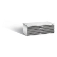 Tekeningkast van staal, voor formaten tot A1, 5 schuifladen, lichtgrijs/lichtgrijs