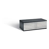 Tekeningkast van staal, voor formaten tot A1, 5 schuifladen, zwartgrijs/blank aluminium