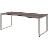 TEQSTYLE bureautafel, aanbouw rechts, slede onderstel, vrije vorm, B 1800 mm, kwartsiet/aluminium