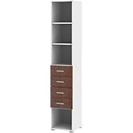TEQSTYLE combi-boekenkast, 4 vakken + 4 laden, 6 OH, B 400 x D 419 x H 2185 mm, oxido/wit