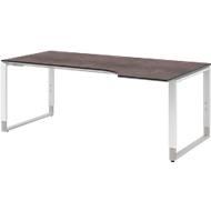 TEQSTYLE Schreibtisch, Ansatz rechts, Kufengestell, Freiform, B 1800 mm, Quarzit/weiß