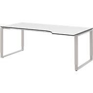 TEQSTYLE Schreibtisch, Ansatz rechts, Kufengestell, Freiform, B 1800 mm, weiß/alu