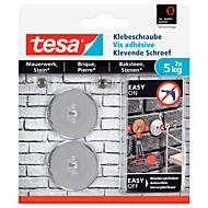 tesa® kleefschroef, voor metselwerk & steen binnen & buiten, kleefkracht tot 5 kg, afneembaar, rond, 2 st.