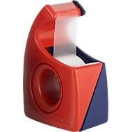 TESA plakband-handafroller Easy Cut, 10 m x 19 mm, rood/blauw