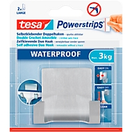 tesa Powerstrips Waterproof Duohaken Zoom, aus Edelstahl, für Feuchträume, max. 3 kg