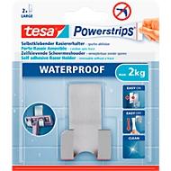 tesa Powerstrips Waterproof Haken Zoom, aus Metall, für Feuchträume, Doppelhaken