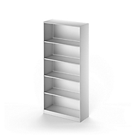 TETRIS SOLID boekenkast, staal, 5 OH, B 1000 x D 413 x H 2143 mm, blank aluminium