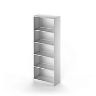 TETRIS SOLID boekenkast, staal, 5 OH, B 800 x D 413 x H 2143 mm, blank aluminium