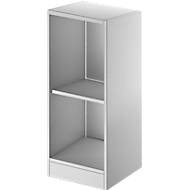 TETRIS SOLID houten boekenkast, 2 OH, B 400 x D 413 x H 818 mm, lichtgrijs/blank alu