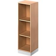 TETRIS SOLID houten boekenkast, 3 OH, B 400 x D 413 x H 1170 mm, beukendecor/blank alu