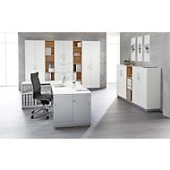 TETRIS SOLID houten boekenkast, 3 OH, B 400 x D 413 x H 1170 mm, kersen Romana-decor/blank alu