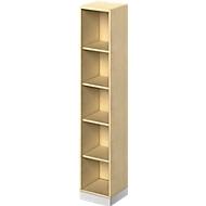 TETRIS SOLID houten boekenkast, 5 OH, stalen sokkel, B 400 x D 413 x H 2143 mm, ahorndecor/blank alu