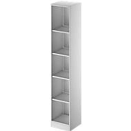 TETRIS SOLID houten boekenkast, 5 OH, stalen sokkel, B 400 x D 413 x H 2143 mm, lichtgrijs/blank alu