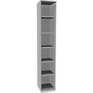 TETRIS SOLID houten boekenkast, 6 OH, b 400 mm, incl. stalen sokkel, lichtgrijs/blank alu