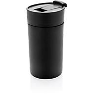 Thermobecher, Edelstahl, doppelwandig, auslaufsicher, 350 ml, Lasergravur o. Tampondruck 20 x 50 mm,  schwarz