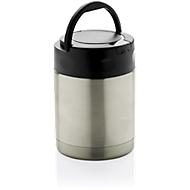 Thermobox, Edelstahl, 360 ml, auslaufsicher, inkl. Löffel + Tragehenkel, Lasergravur o. Tampondruck 30 x 65 mm