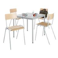 Tisch 800x800 + 4 Stapelstühle l'grau
