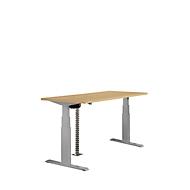 Tisch, zweistufig elektrisch höhenverstellbar, B 1600 mm, Buche-Dekor/alusilber