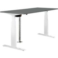 Tisch, zweistufig elektrisch höhenverstellbar, B 1600 mm, dunkelgrau/weiß