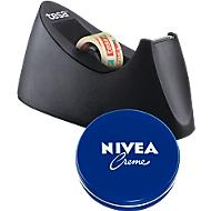 Tischabroller tesa Easy Cut® CURVE, inkl. Rolle L 10 m x B 19 mm + gratis Nivea-Dose 75 ml