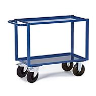 Tischwagen, 2 Ladeflächen/Blechwannen, 895 x 495 mm, Tragkraft 400 kg