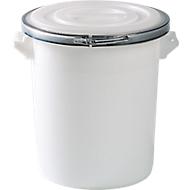 Ton, van kunststof, inclusief deksel met afdichting en metalen sluitring, 75 liter