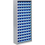 TOP FIX kast met legborden, 1575 mm hoog, 14 legborden, 90 bakken, zonder deuren, lichtzilver