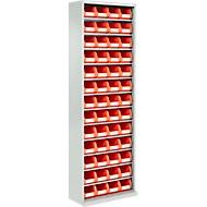TOP FIX kast met legborden, 2000 mm hoog, 12 legborden, 52 bakken, zonder deuren, lichtgrijs