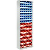 TOP FIX kast met legborden, 2000 mm hoog, 15 legborden, 82 bakken, zonder deuren, lichtgrijs
