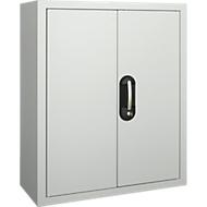 TOP FIX kast met legborden, 780 mm hoog, 4 legborden, 22 bakken, met deuren, lichtgrijs