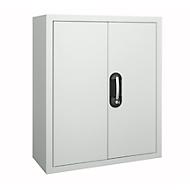 TOP FIX kast met legborden, 780 mm hoog, 4 legborden, zonder bakken, met deuren, lichtgrijs
