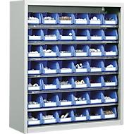 TOP FIX kast met legborden, 780 mm hoog, 6 legborden, 42 bakken, zonder deuren, lichtgrijs