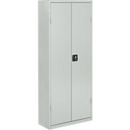 TOP FIX-Regalschrank, 1575 mm hoch, 11 Böden, 60 Kästen, mit Türen, lichtgrau
