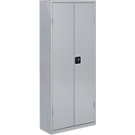 TOP FIX-Regalschrank, 1575 mm hoch, 14 Böden, 90 Kästen, mit Türen, hellsilber