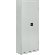 TOP FIX-Regalschrank, 1575 mm hoch, 9 Böden, 40 Kästen, mit Türen, lichtgrau