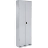TOP FIX-Regalschrank, 2000 mm hoch, 18 Böden, ohne Kästen, mit Türen, hellsilber