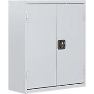 TOP FIX-Regalschrank, 780 mm hoch, 6 Böden, 42 Kästen, mit Türen, lichtgrau
