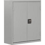 TOP FIX-Regalschrank, 830 mm hoch, 6 Böden, 42 Kästen, mit Türen, weißaluminium