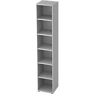 TOPAS LINE boekenkast, spaanplaat, 6 OH, 5 legborden, B 400 x D 400 x H 2156 mm, lichtgrijs