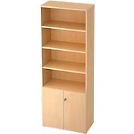 TOPAS LINE combi-boekenkast, 6 OH, B 800 x D 420 x H 2156, legborden 4 OH + deuren 2 OH, ahorndecor/ahorndecor
