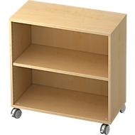 TOPAS LINE verrijdbare boekenkast, spaanplaat, 2 OH, B 800 x D 400 x H 820 mm, ahorndecor