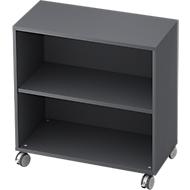 TOPAS LINE verrijdbare boekenkast, spaanplaat, 2 OH, B 800 x D 400 x H 820 mm, grafiet