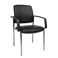 TOPSTAR BtoB 10 bezoekersstoel, imitatieleer, bestand tegen desinfectiemiddelen, stapelbaar, met armleuningen, set van 2, zwart