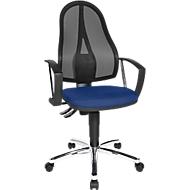 Topstar Bürostuhl Point Net, Permanentkontakt, m. Armlehnen, verstellbarer Netzrücken, blau