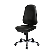 Topstar Bürostuhl SUPPORT SY, ohne Armlehnen, Synchronmechanik, Bandscheibensitz, Kunstleder desinfektionsmittelbeständig, schwarz/chromsilbern