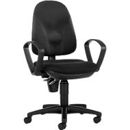 Topstar bureaustoel POINT 300, permanent contact, met armleuningen, ergonomisch gevormde wervelsteun, zwart