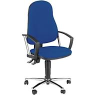 Topstar bureaustoel POINT 60, permanent contactmechanisme, met armleuningen, lendenwervelsteun, kuipzitting, blauw