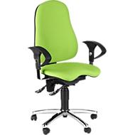 Topstar bureaustoel SENSUM, permanent contact, met armleuningen, lendenwervelsteun, 3D-orthozitting, appelgroen
