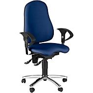 Topstar bureaustoel SENSUM, permanent contact, met armleuningen, lendenwervelsteun, 3D-orthozitting, blauw