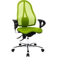 Topstar bureaustoel SITNESS 15, permanent contact, met armleuningen, gazen rugleuning, fitness-orthozitting, groen